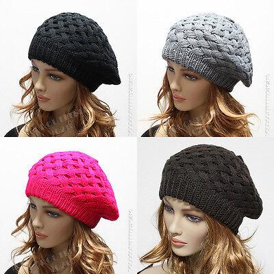 Knit Women's Beret Oversized Beanie Winter Hat Ski Chic Cap Skull Crochet Rasta
