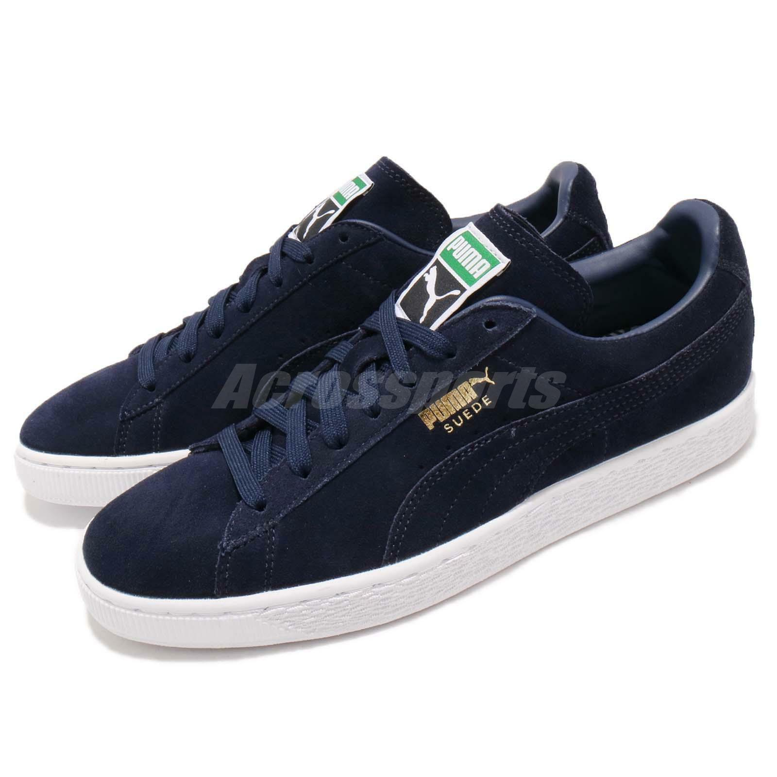 Puma Suede Classic Peacoat Navy White Gold Men Casual Shoes Sneakers 356568 52