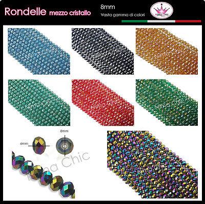 20 Cipollotti, Rondelle mezzo cristallo 8mm, perle sfaccettate COLORI A SCELTA