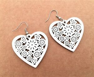 Fab-Lightweight-Heart-Wooden-Dangle-Earrings-Flower-Design-white-UK-seller