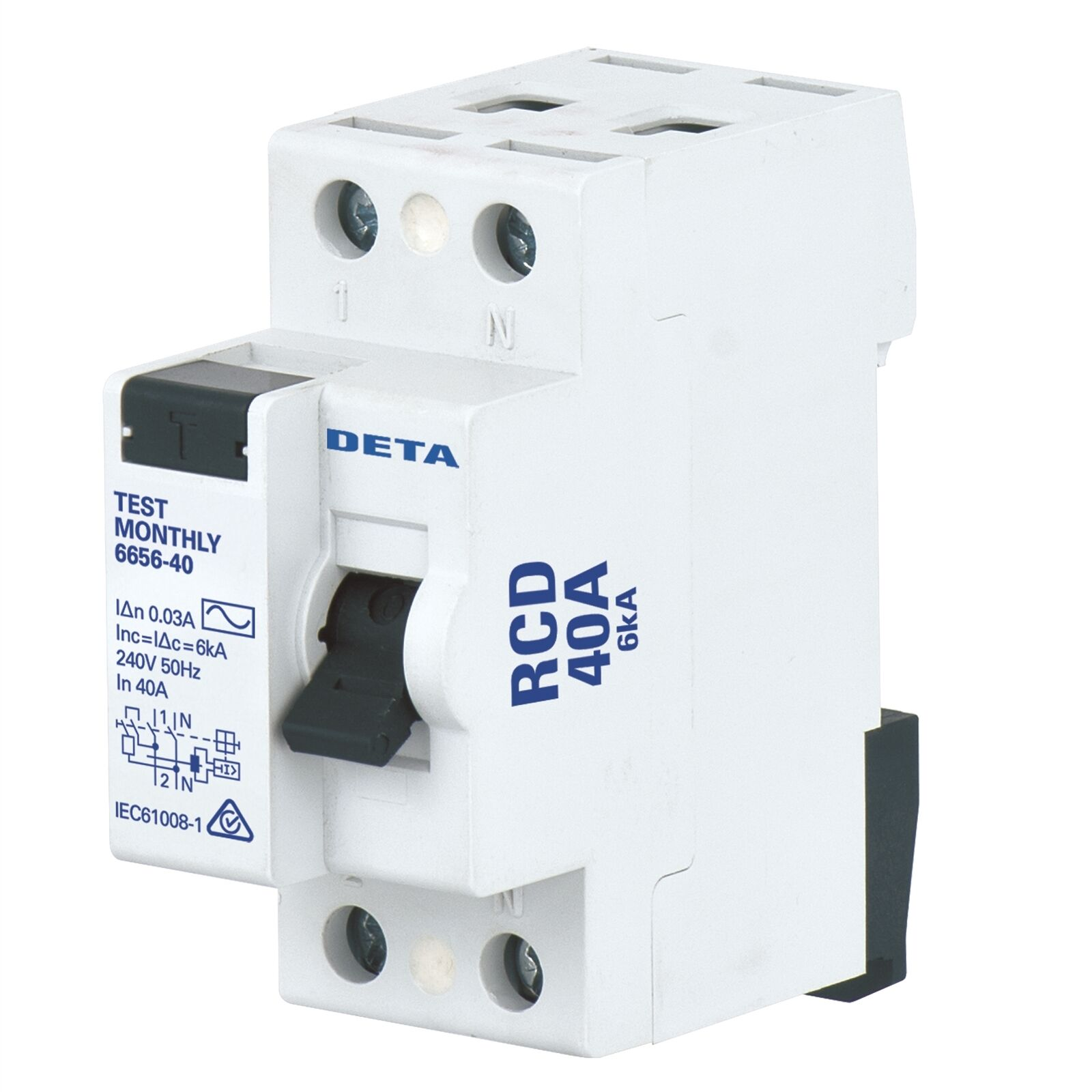 Deta RESIDUAL CIRCUIT BREAKER 40A Predects Against Earth Fault Current AUS Brand