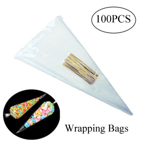 100PCS Candy Biscuit Cone Bag Transparent Cellophane Wrap Package Storage Pouch