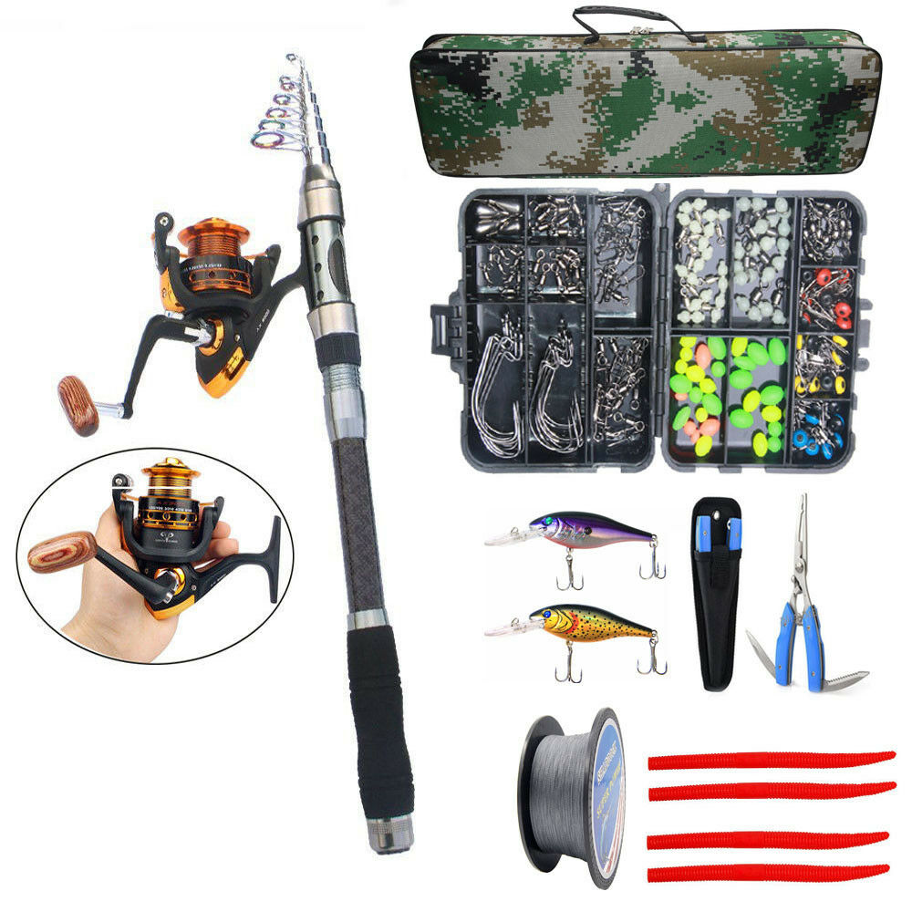 Fishing Rod and Reel Combo Spinning Rod Saltwater Fishing Lure Line Swivel Set
