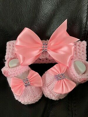 Hand knitted Romany Bling baby girls booties//shoes//Crochet headband.0-3  month