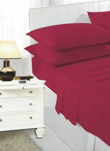 100/% Egyptian PolyCotton Fitted Bed Sheet ExtraDeep 25cm PillowCase Single-SKing