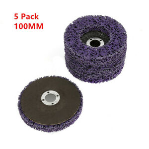 5pcs 4/'/' 100mm Poly Strip Discs Wheel Paint Rust Removal Clean For Grinder !