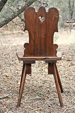 19th C. Masculine Walnut Tyrolean Swiss Mountain Chair Brettstuhl Bauernstuhl