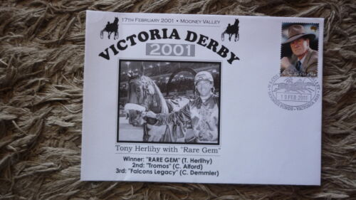 AUSTRALIAN HORSE HARNESS RACING COVER, RARE GEM 2001 VICTORIA DERBY WIN
