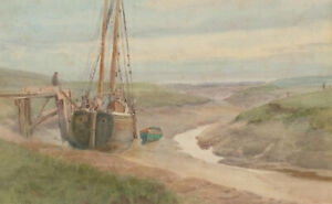 E. Pizey - Staithes School Early 20th Century Watercolour, By the Fishing Boat