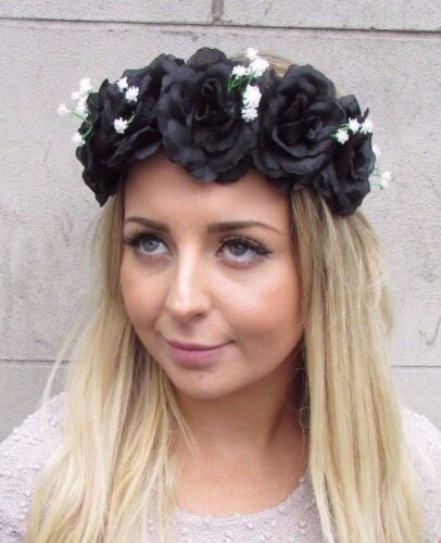 Black White Baby/'s Breath Gypsophila Rose Flower Garland Headband Festival 2981