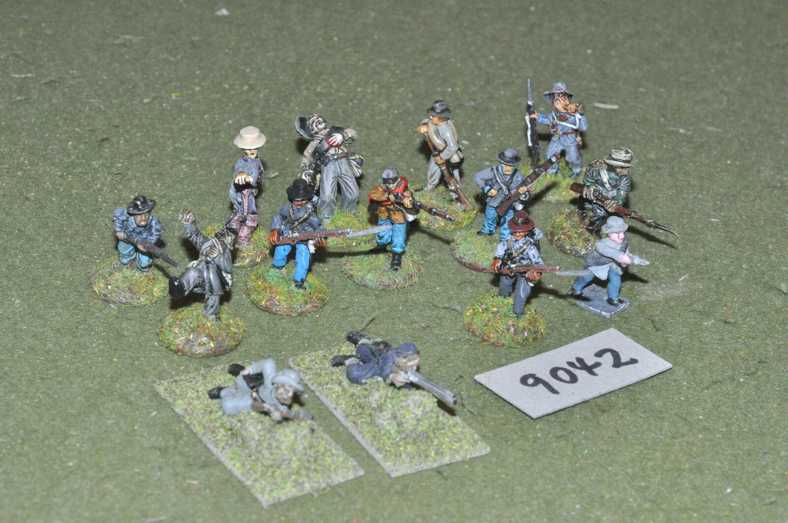 25mm ACW   confederate - civil war 14 skirmishers figs metal - inf (9042)