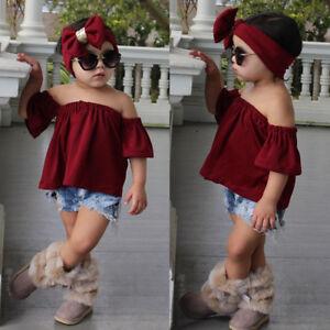 992387b443034c 3PCS Kids Toddler Baby Girl Off Shoulder Tops Shirt+Shorts Jeans ...