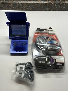 Nintendo-Gameboy-Advance-SP-Cobalt-Blue-Wireless-Headphones-Magnifier-Charger