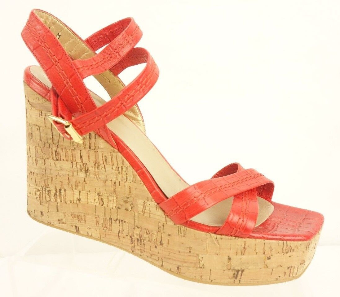 STUART WEITZMAN Platform Wedge Sandals Womens 10.5 M Red Leather shoes