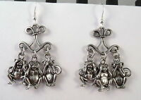 See No Evil, Hear No Evil, Speak No Evil Chandelier Earrings