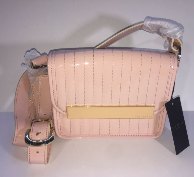 15abd0541f57 NWT Ted Baker Enamel Crossbody Light Pale Pink Flap Front Purse Bag X-body