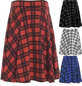 0270b830971 New Womens Plus Size Tartan Check Print Elastic Ladies Short Skater ...