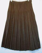 COLDWATER CREEK  Brown Skirt Crinkle Pleated Below Knee Suede Size Petite S