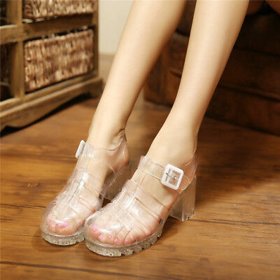 Womens Block Chunky Mid Heel Round Toe Hollow Out Jelly Sandals Clear Beach Shoe   eBay