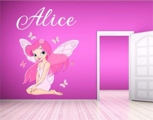 Personalised Name Fairy Butterfly Girls Wall Art Sticker Print Decal Mural P2F