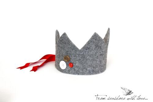 Fatto a mano feltro corona, il loro travestimento principessa e re, Festa di compleanno, cappello