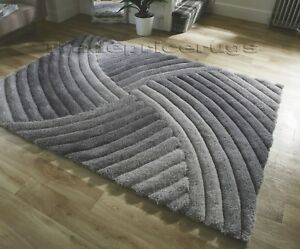SMALL-LARGE-HEAVYWEIGHT-THICK-SOFT-CARVED-PILE-SILVER-GREY-3D-VERGE-FURROW-RUG