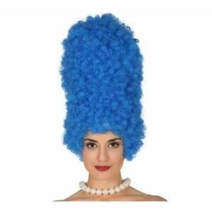 Femmes-Grand-Bleu-Ruche-Perruque-pour-Marge-Simspon-Dame-Deguisement