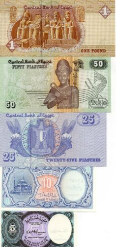 10 EGYPT Africa set of 5 UNC banknotes 5 25 50 Piasters and 1 Pound