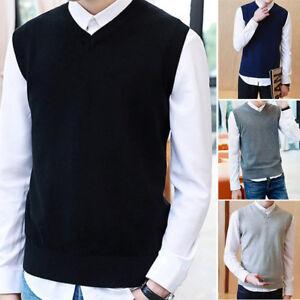 Hombre-Sueter-Tejido-Camiseta-calido-algodon-lana-cuello-en-V-Sin-Mangas-Jersey
