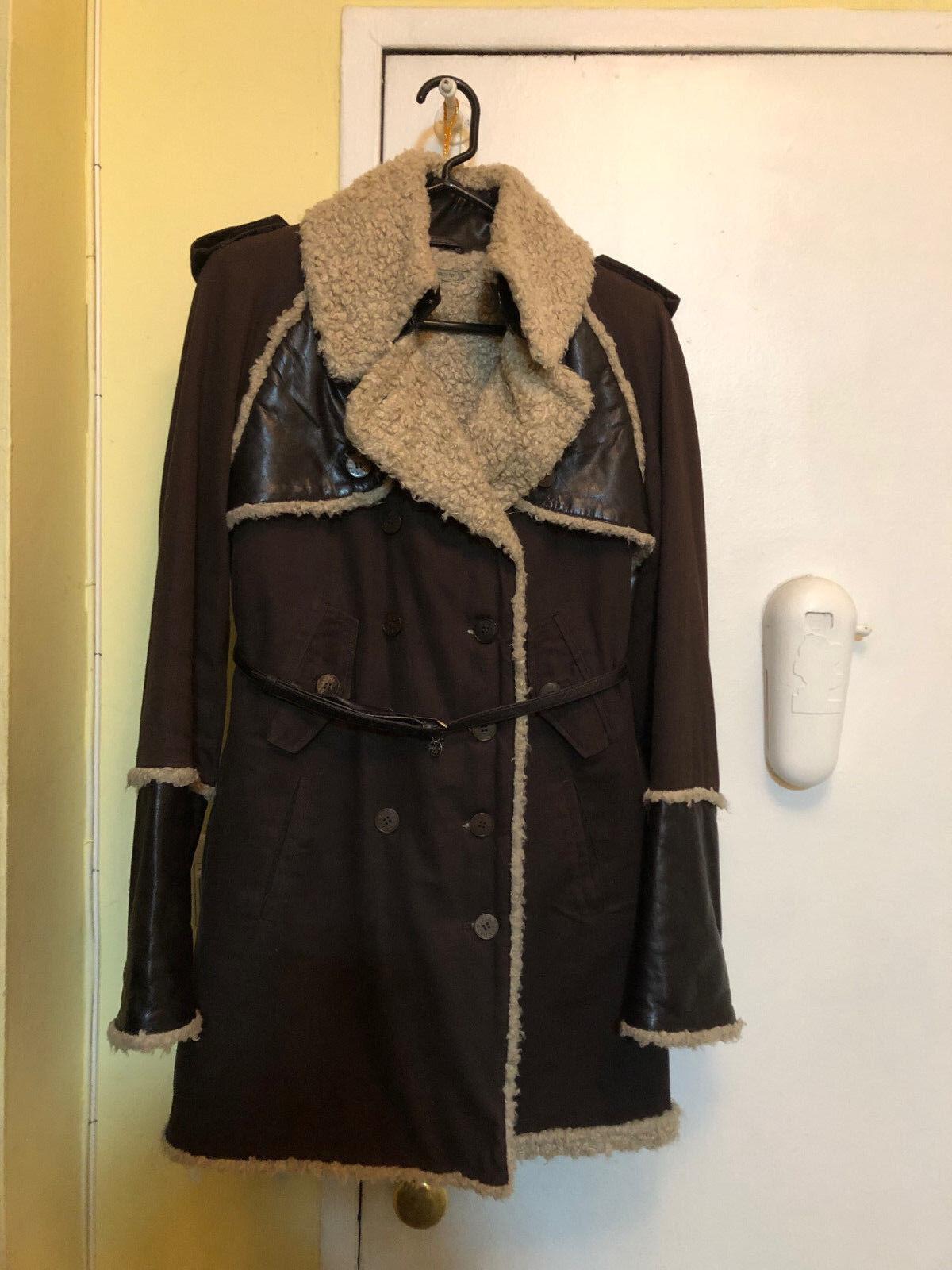 Stylish and Warm Patrizia Pepe vegan shearling dark brown coat size 42 (2 4)