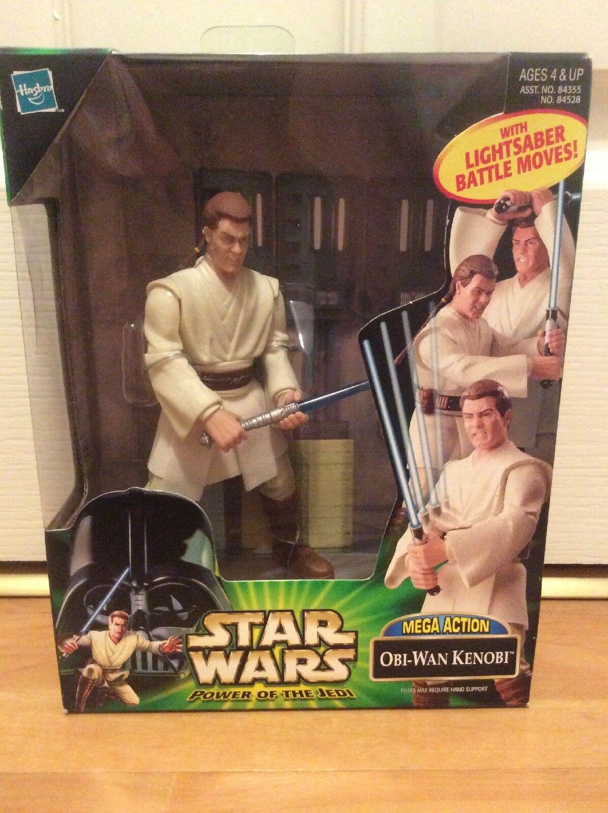 Star Wars Power Of The Jedi Mega Action Obi-Wan Kenobi Action Figure MISB Rare