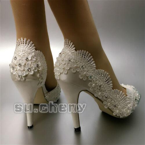 """su.cheny Peep open toe 3/"""" 4/"""" heel satin white ivory lace Wedding Bridal shoes"""