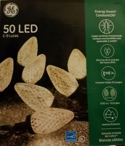 Details About Ge Energy Smart Constanton 50 Warm White Led C9 Faceted Christmas Lights New