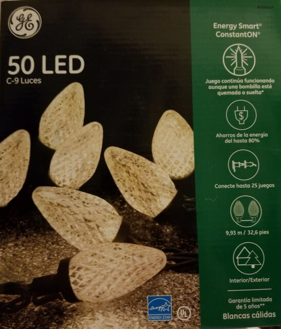 ge energy smart constanton 50 warm white led c9 faceted christmas lights new