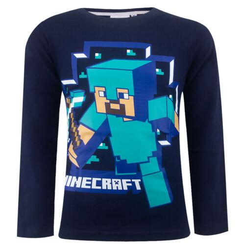 Mojang Minecraft Steve Langarmshirt Shirt Pulli Longsleave Langarm Blau
