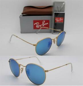 2b804776efd Ray Ban ROUND RB 3447 112 4L 50mm Matte Gold Frame   Blue Mirror ...