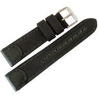 18mm Hadley-roma Ms868 Mens Black Canvas And Leather Watch Band Strap