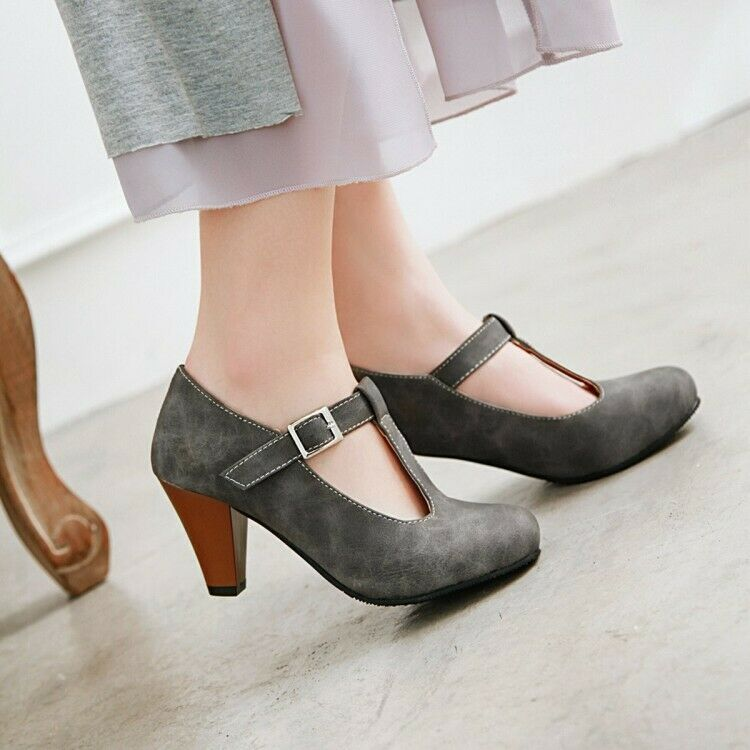 Charm Ladies Spring Mary Jane Buckle T-Strap Faux Leather Commute Block shoes
