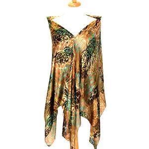"Women's 100% Satin Silk Scarf / Tan / Animal Print / 70"" X 42"""