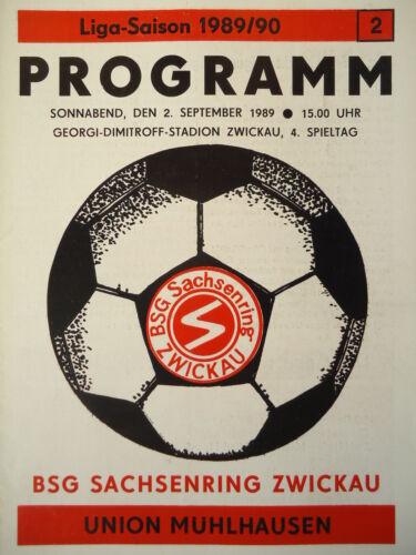 Programm 1989//90 BSG Sachsenring Zwickau Union Mühlhausen
