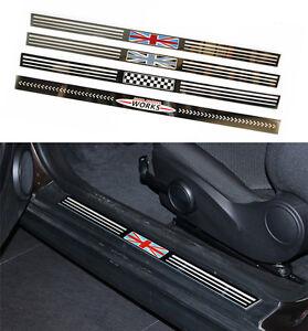 Union Jack Tungsten Steel Entry Door Sill Trim For Mini Cooper S R56