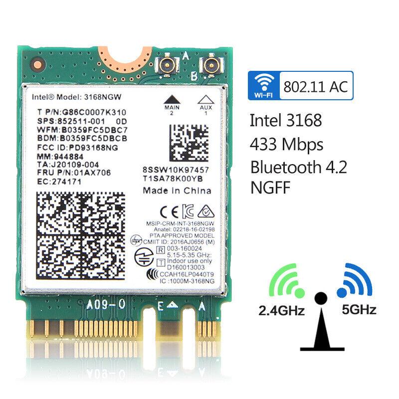 433Mbps Dual band Wireless 3168 3168NGW NGFF Wifi Card Bluetooth 4.2 802.11ac