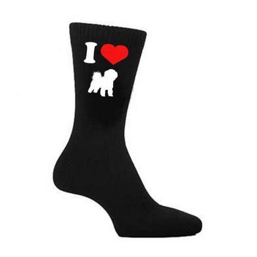 I Love Heart Bichon Frise Dogs Dog Black Socks UK 5-12
