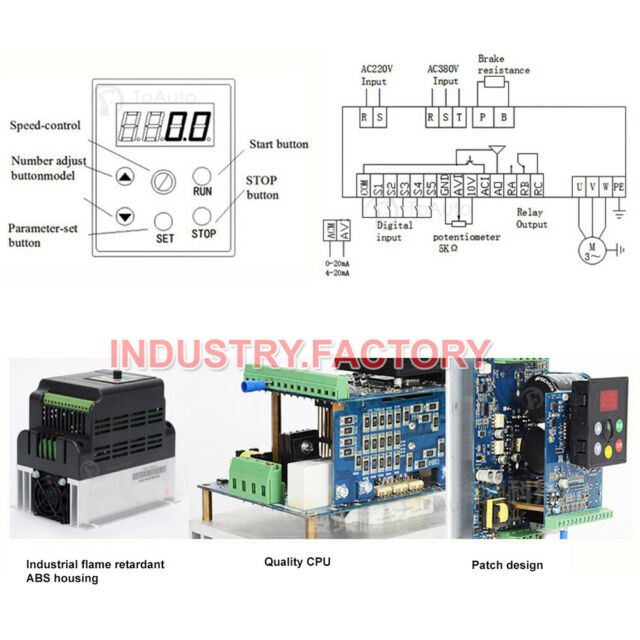 5M Cable CNC Router 1HP 750W Variable Frequency Driver VFD Inverter 220V 4A