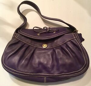 Genuine Leather Purple Handbag Hobo