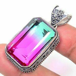 Bi-Color-Tourmaline-Handmade-Ethnic-Style-Jewelry-Pendant-1-97-034-VED7237