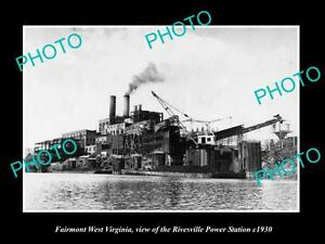 OLD-LARGE-HISTORIC-PHOTO-OF-FAIRMONT-WEST-VIRGINIA-RIVESVILLE-POWER-STATION-1930