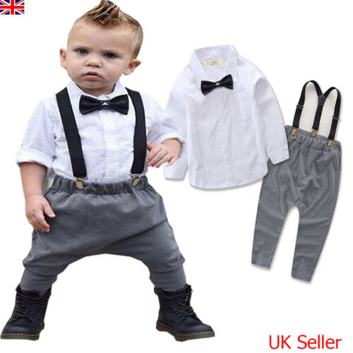 UK Newborn Kids Baby Boys Gentleman Outfits Shirt Tops Pants Party Clothes Sets