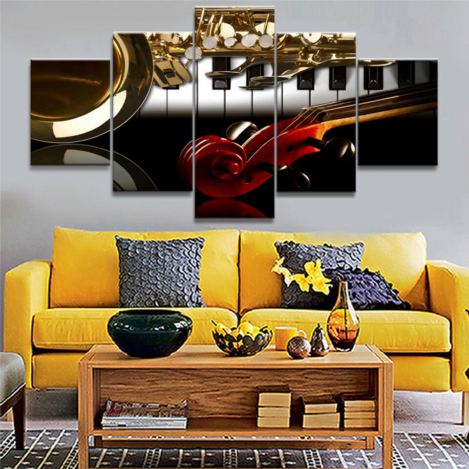 Classic Musical Instruments 5 Panel Canvas Print Wall Art