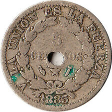 1883 Bolivia 5 Centavos Coin Mint Hole Error on Reverse KM#169.2